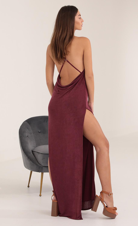 Luna Long Drape Back Dress in Burgundy