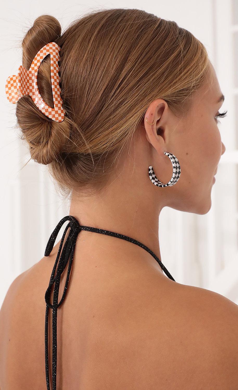 Checkered Dreams Hair Clip in Orange