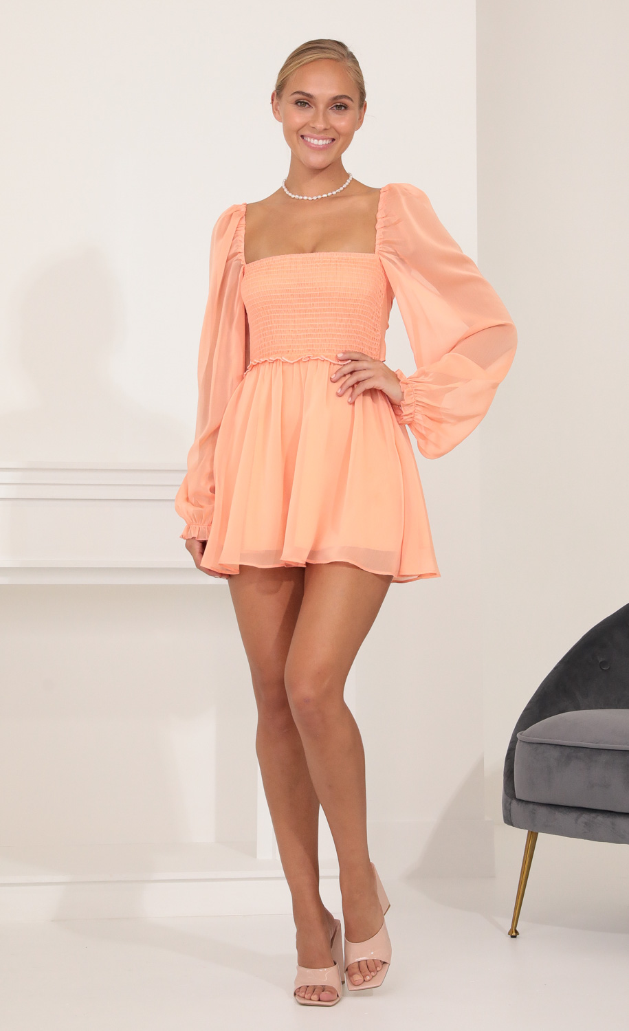 Kaz Fit and Flare Dress in Peach