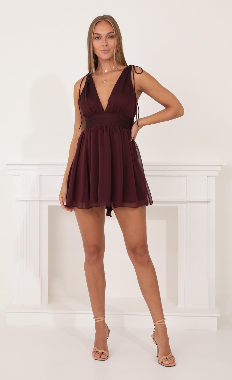 Ysabel Chiffon Dress in Burgundy