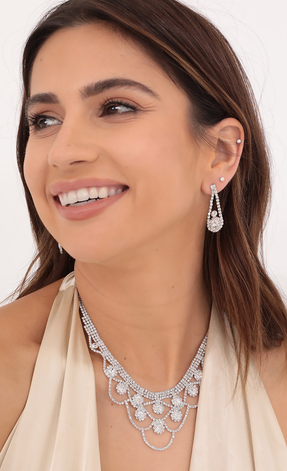 Homecoming Queen Crystal necklace Set in Silver
