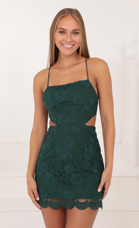 Lana Lace Cutout Dress in Green