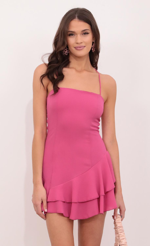 Azura Asymmetric Frill Dress Hot Pink