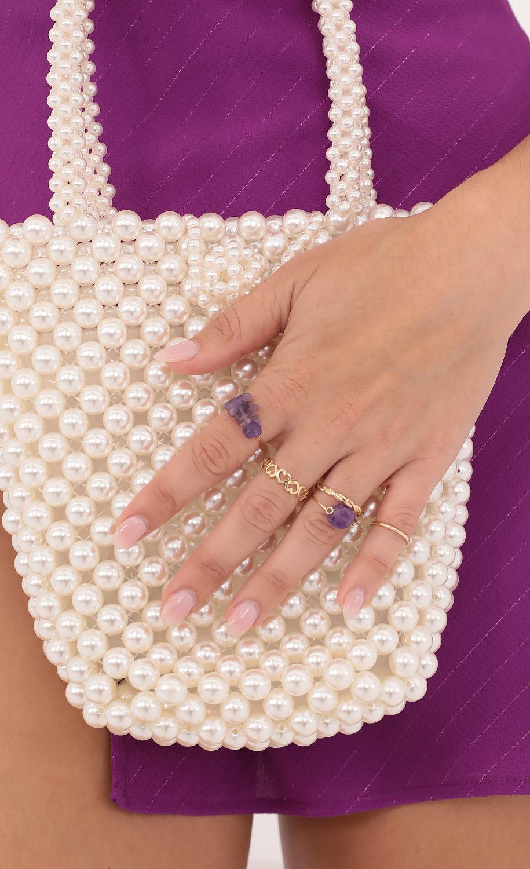 Stone Quartz Ring Set in Purple