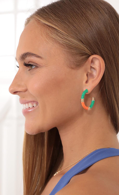 Green Goddess Hoop Earrings in Orange and Green