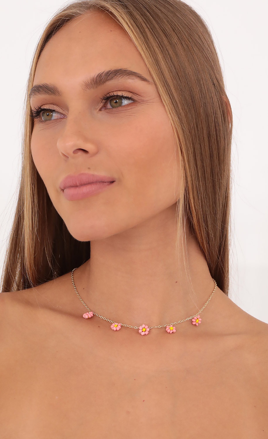 Flower Queen Necklace in Gold and Pink