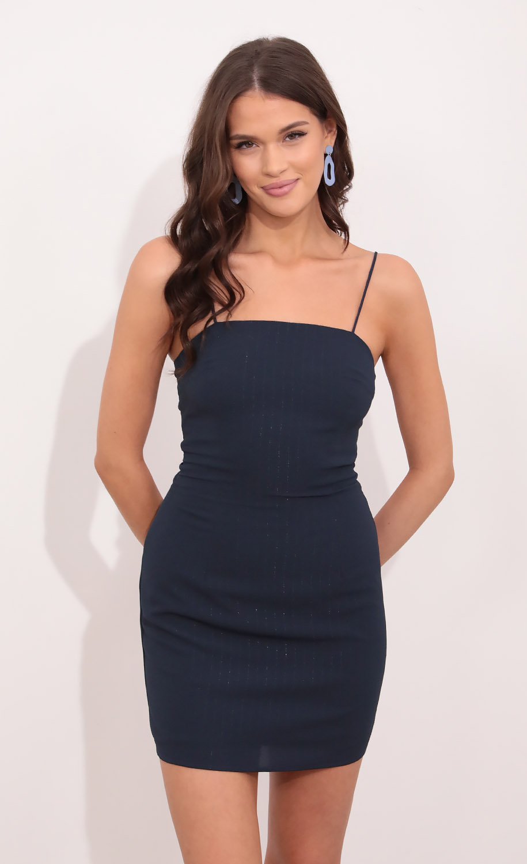 Raya Tie Back Dress in Navy Pinstripes