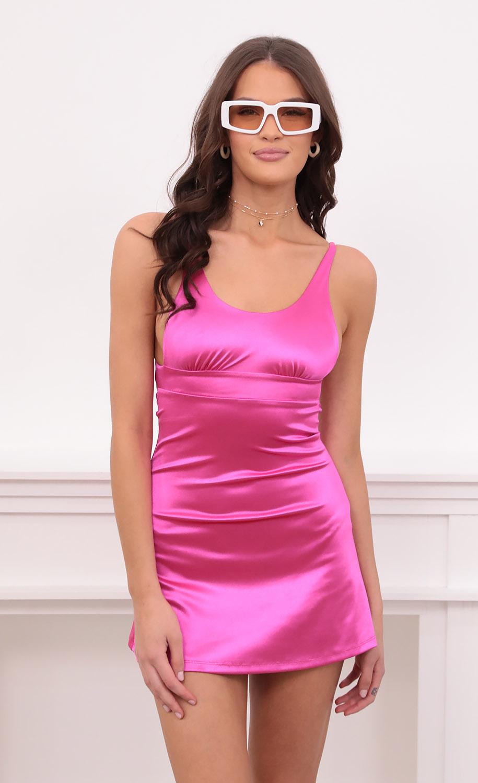 Cezanne A-line Dress in Hot Pink