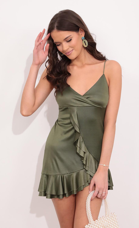 Rayna Asymmetric Ruffle Dress in Green