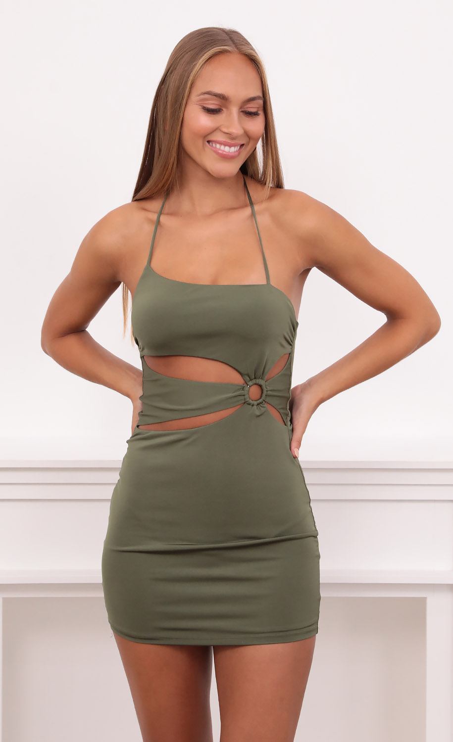 Mia Cut Out Dress in Green