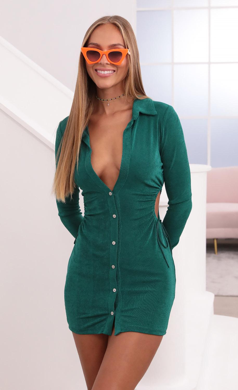 Tokyo Long Sleeve Cut Out Dress in Emerald Green