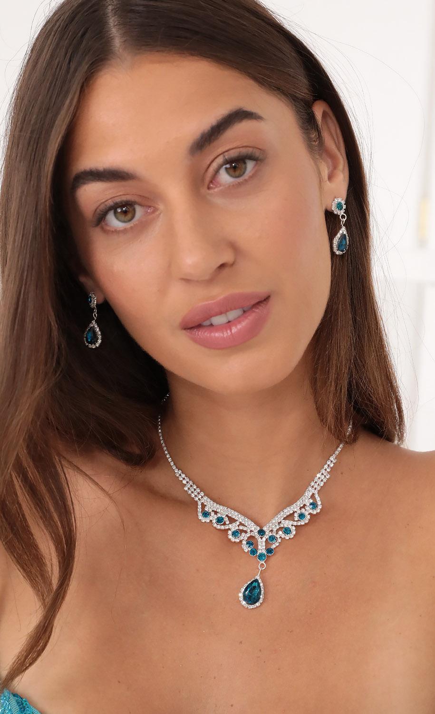 Aqua Baby Crystal Necklace Set in Silver