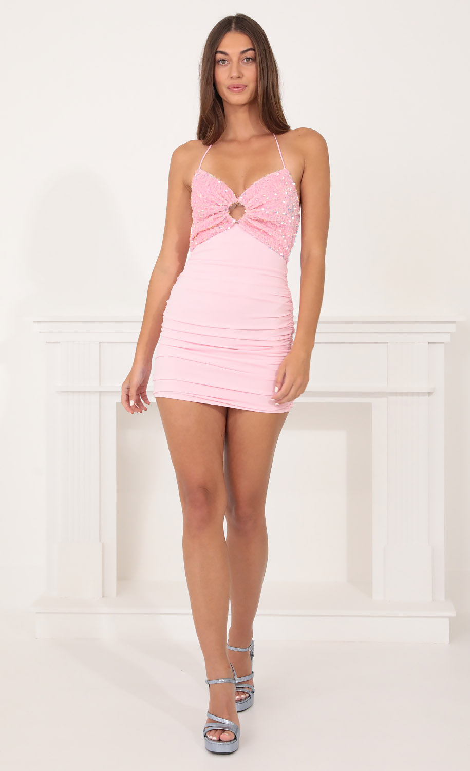 Rayne Ruched Body-Con Dress in Pink
