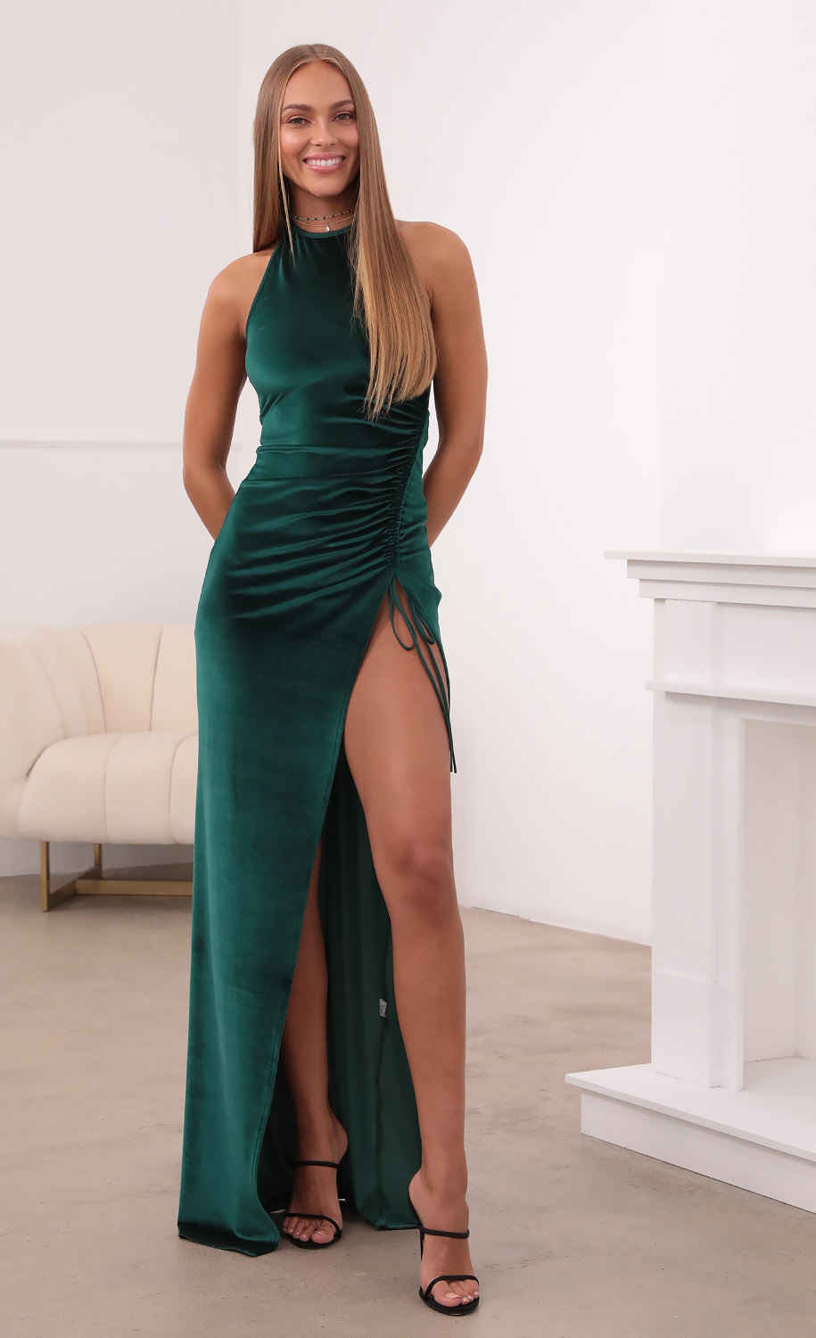 Zion Ruched Maxi Dress in Green Velvet