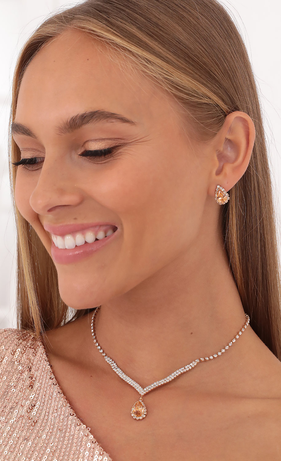 Crystal Peaches Necklace Set in Rose Gold