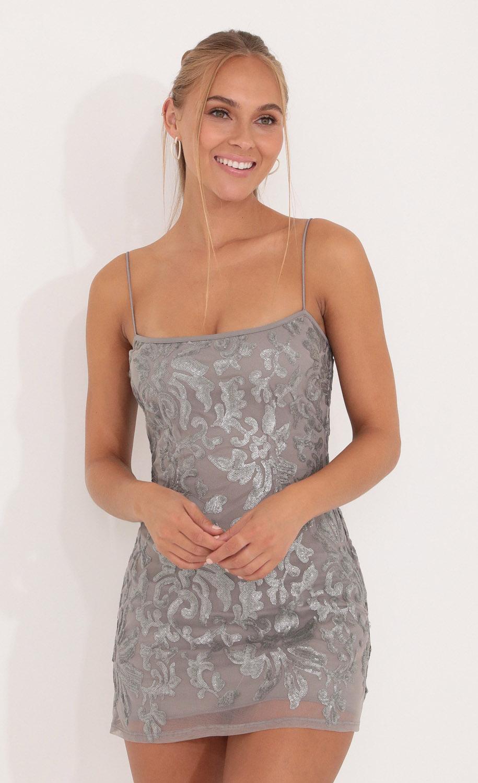 Jorja Floral Sequin Body Con Dress in Grey