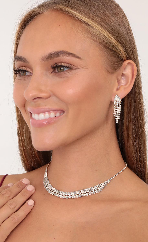 Let's Dance Crystal Necklace Set in Gold