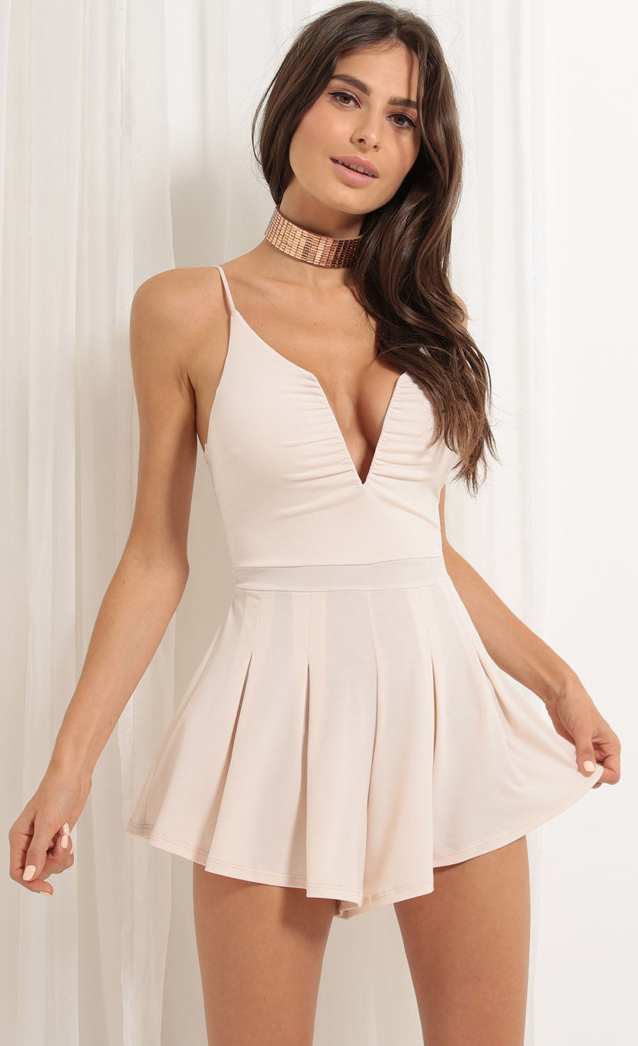 Low V Lace-up Pleated Romper In Blush