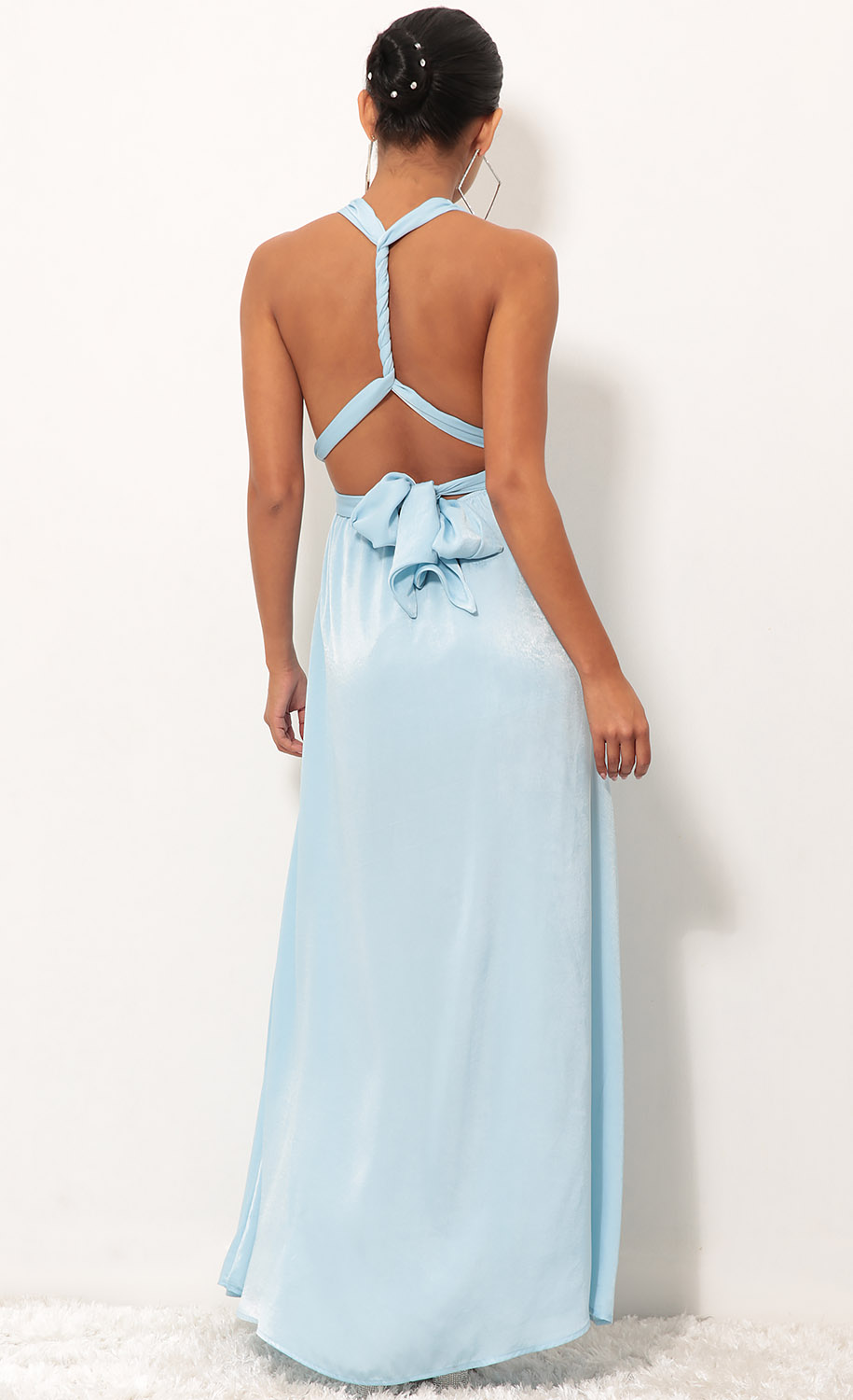 Samara Maxi Dress in Satin Blue
