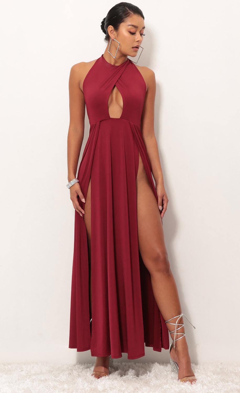Halsey Halter Maxi Dress in Valiant Red