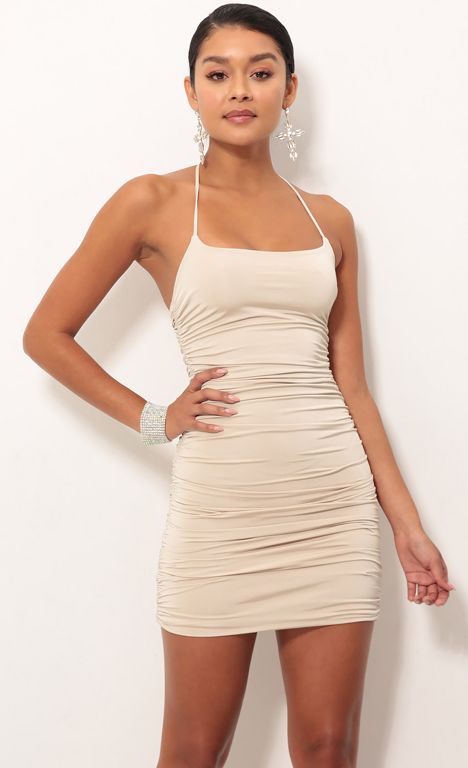 Finest Hour Ruched Dress in Champagne