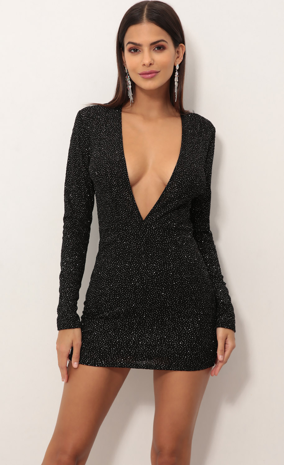 Paris Plunge Dress in Black Crystal