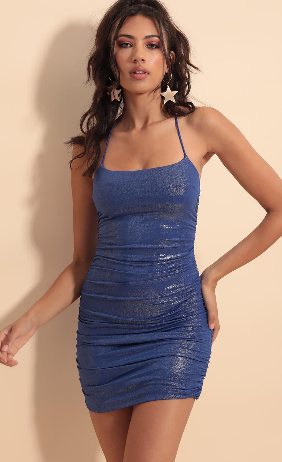 Finest Hour Ruched Dress in Royal Blue Shimmer