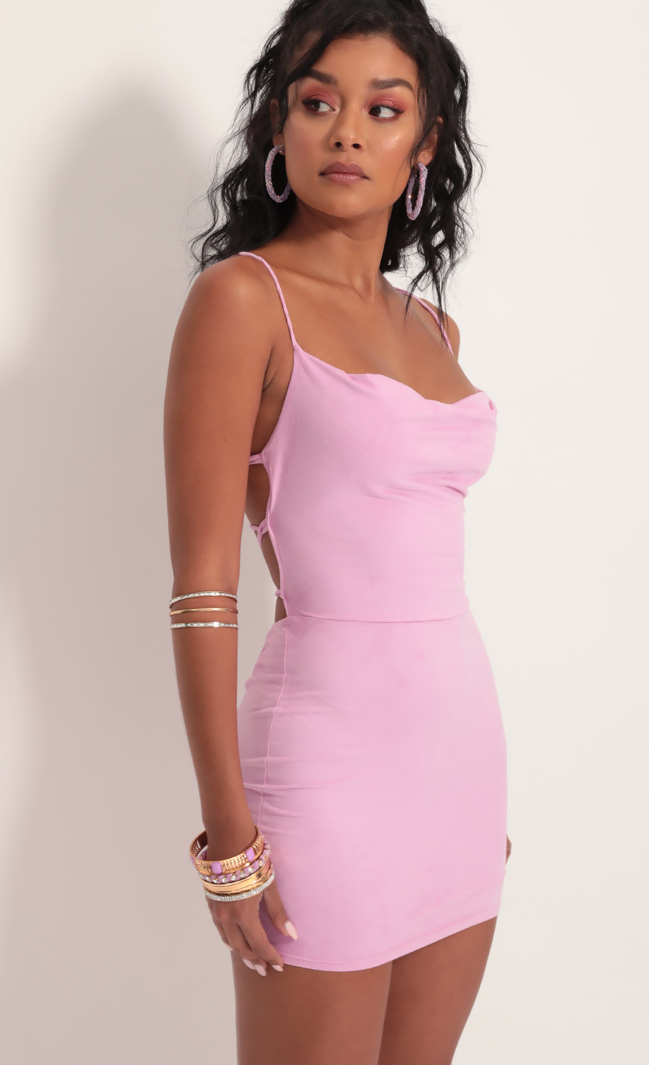 Suede Bodycon Dress In Lilac