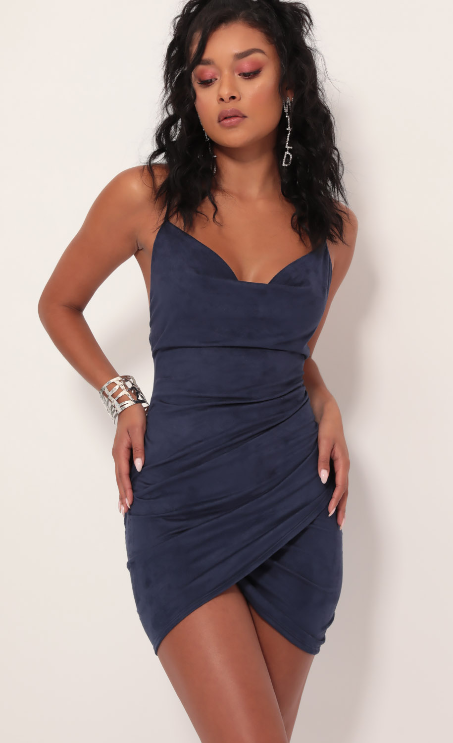 Suede Tulip Dress In Navy
