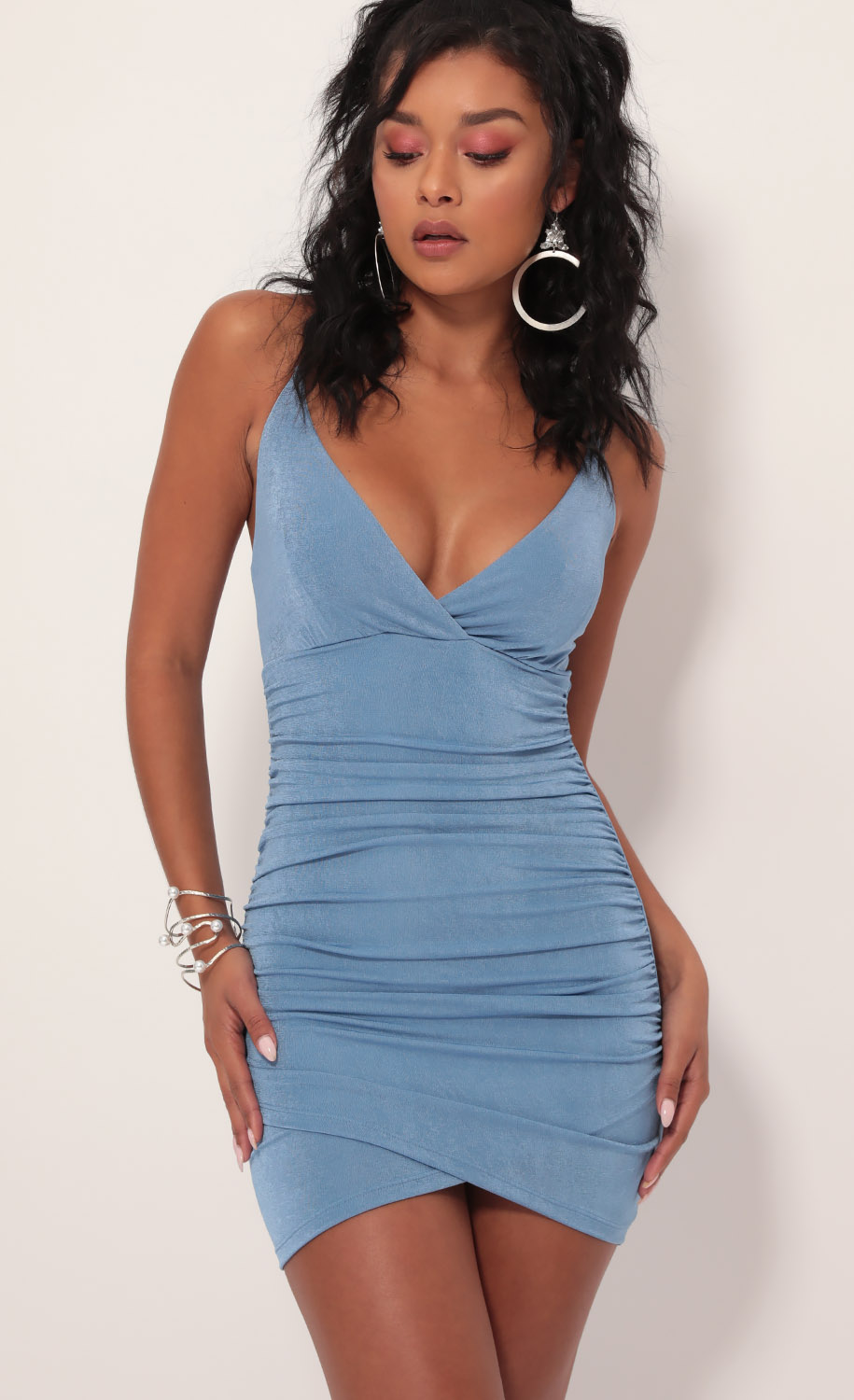 Ruched Cross-Back Dress In Pastel Blue