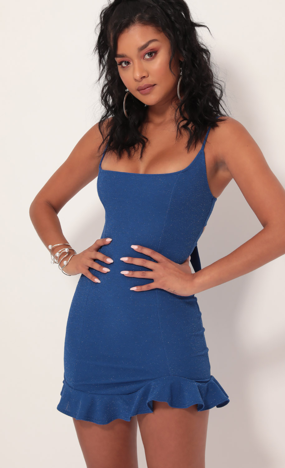 Monroe Shimmer Ruffle Dress In Royal Blue