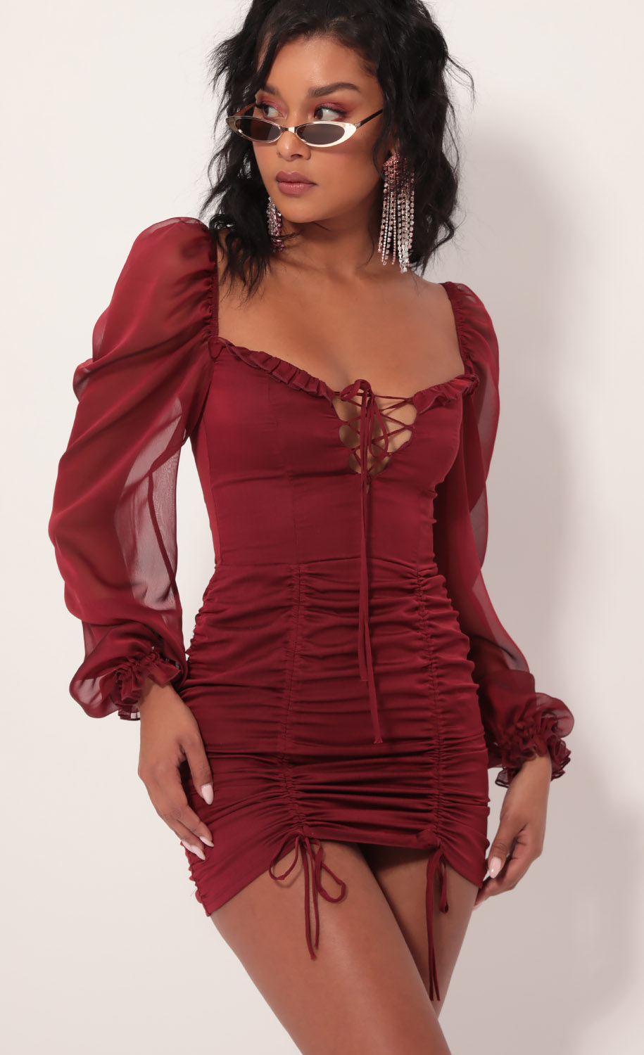 Couture Chiffon Puff Sleeve Dress in Merlot