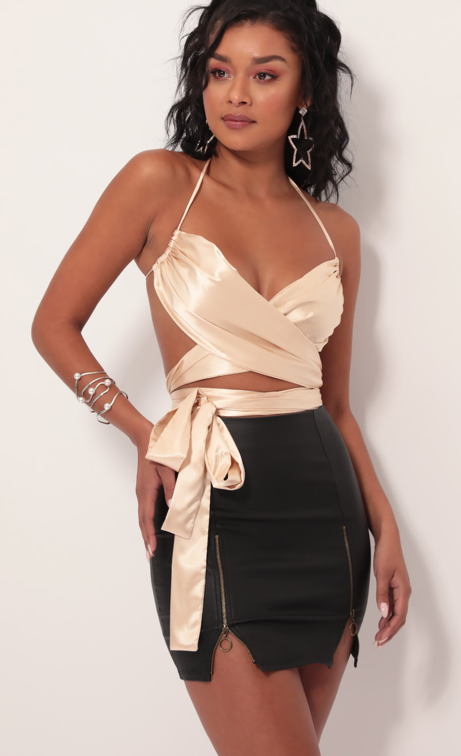 Daylight Satin Bow Tie Top in Champagne