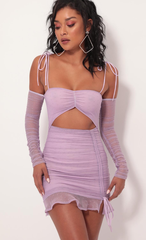 Alessia Polka Dot Mesh Cutout Dress in Lilac