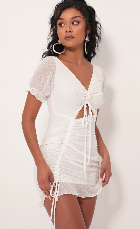 Aida Chiffon Ties Dress in White Dots