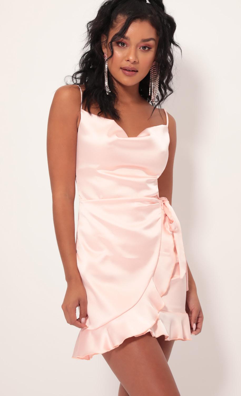 Positano Satin Tie Dress in Blush