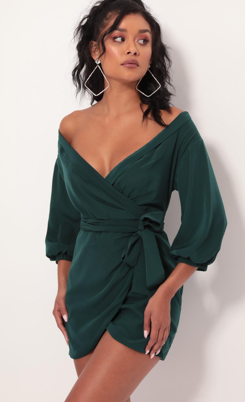 Lorella Off Shoulder Wrap Dress in Hunter Green