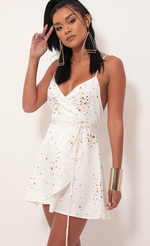 Charlotte Starlight Satin A-Line Dress in White