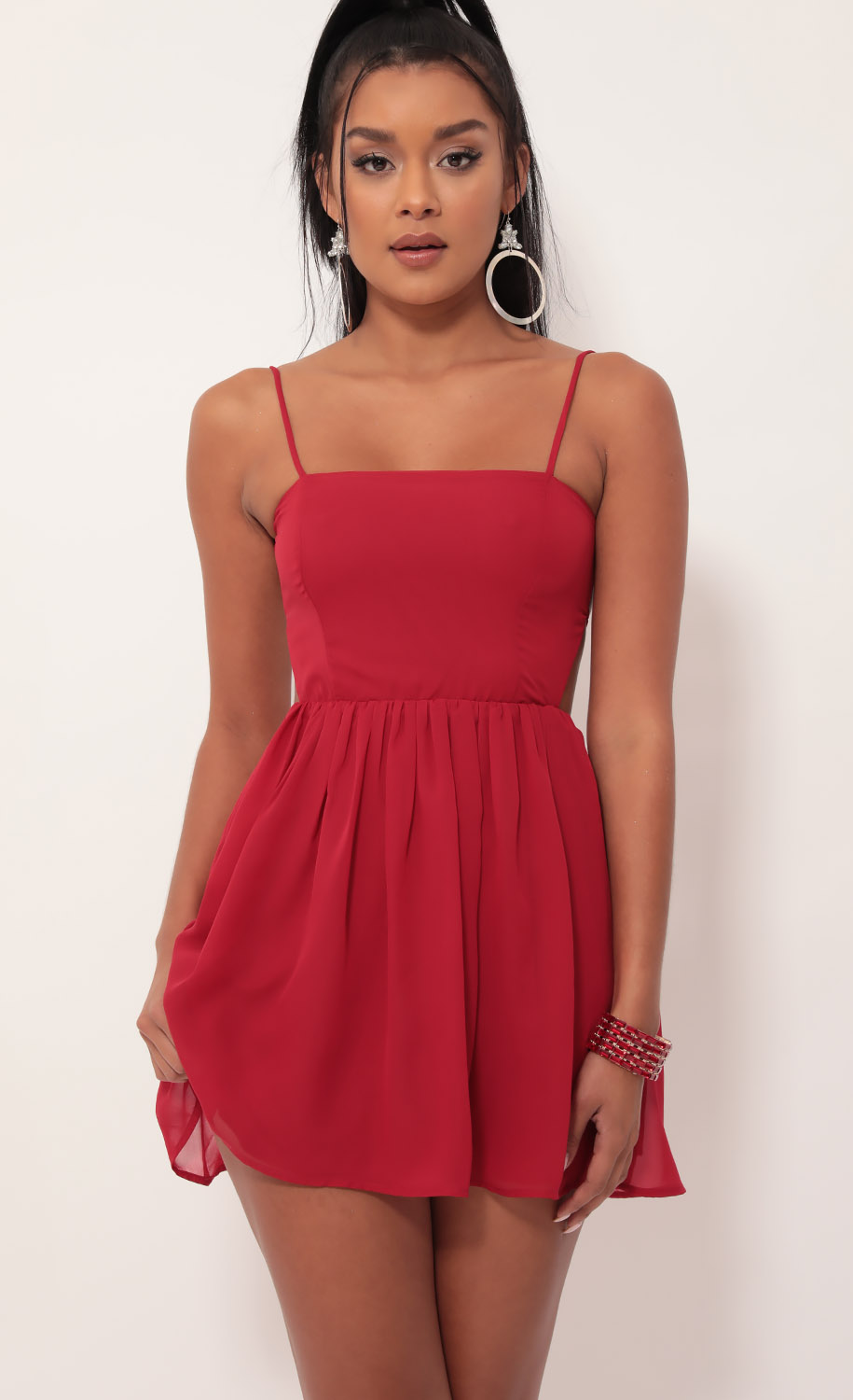 Janey Chiffon A-line Dress in Deep Red
