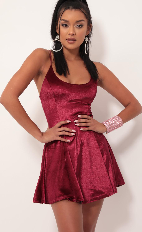 Marley Velvet A-line Dress in Merlot