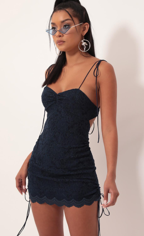 Pierra Scalloped Lace Dress in Navy