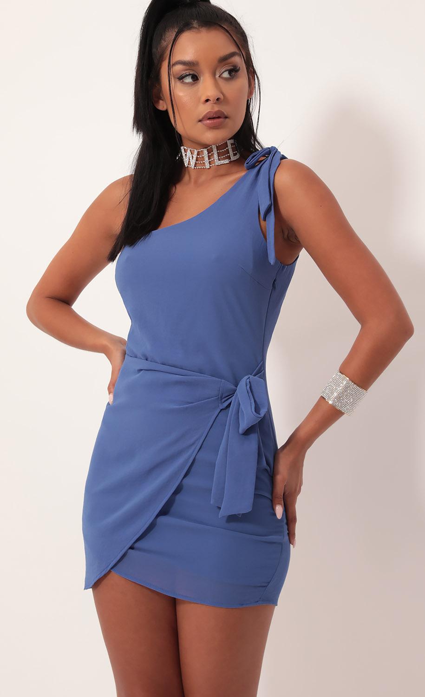 Chelsea Shoulder Tie Chiffon Dress in Blue