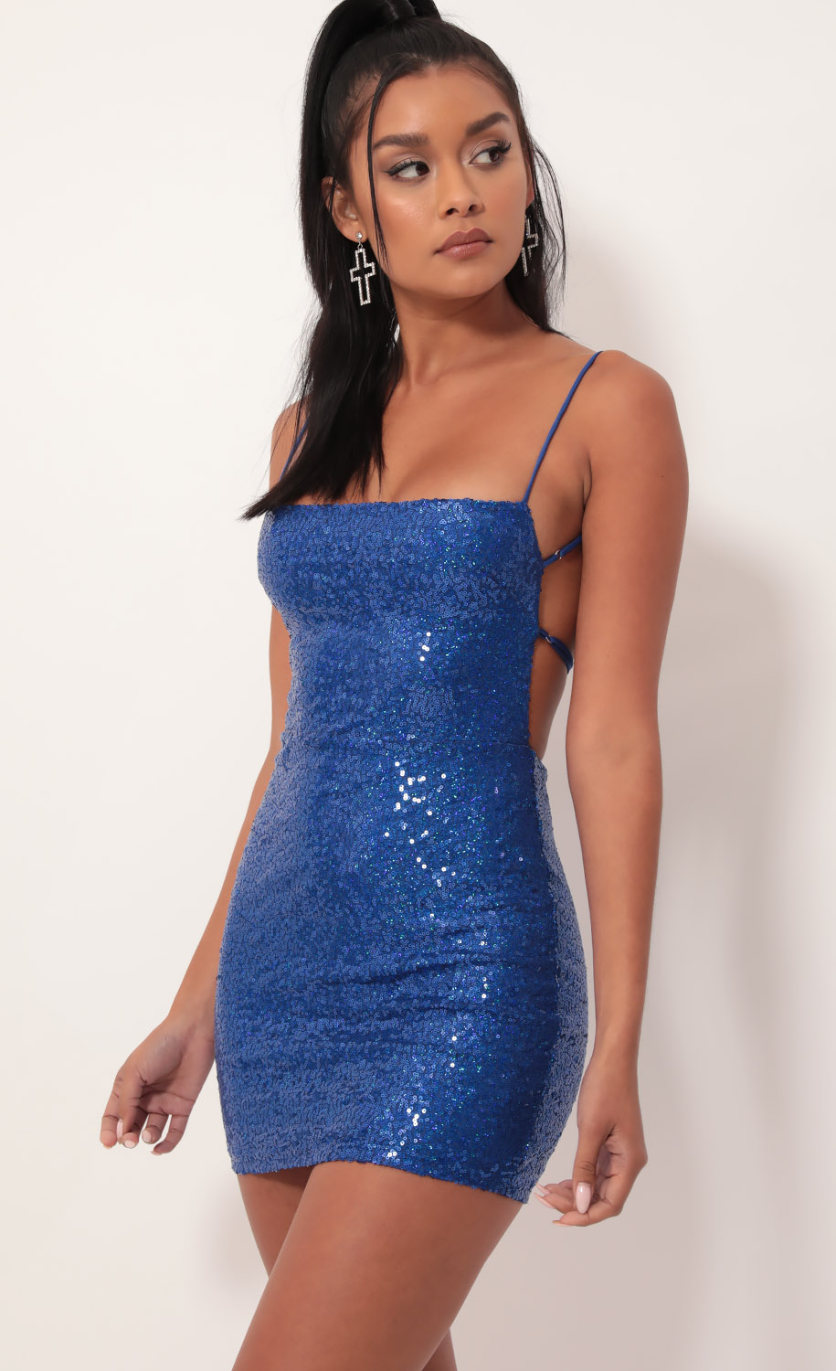 Starstruck Strappy Dress in Lapis Blue