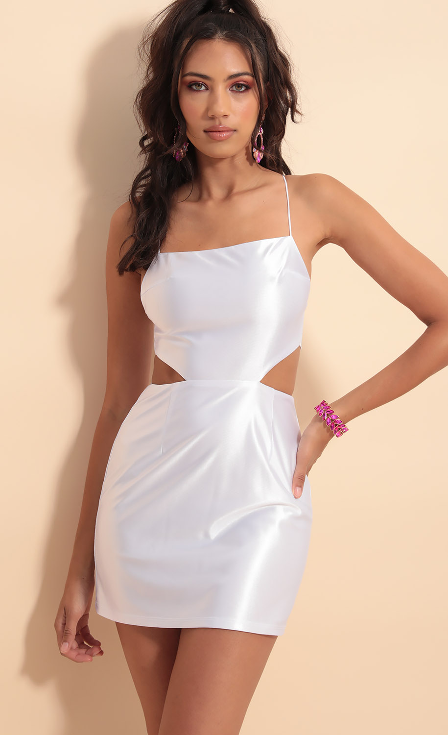 Lana Cutout Satin Dress in White