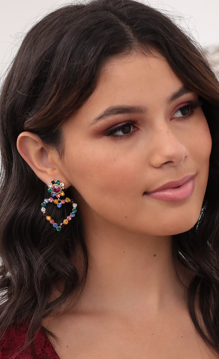 Alexia Multi Colored Diamond Heart Earrings