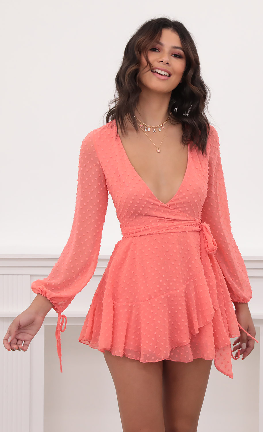 Lexi Ruffle Wrap Dress in Dotted Coral
