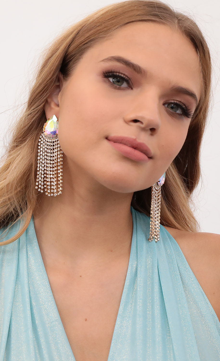 Jasmine Iridescent Crystal Statement Earrings