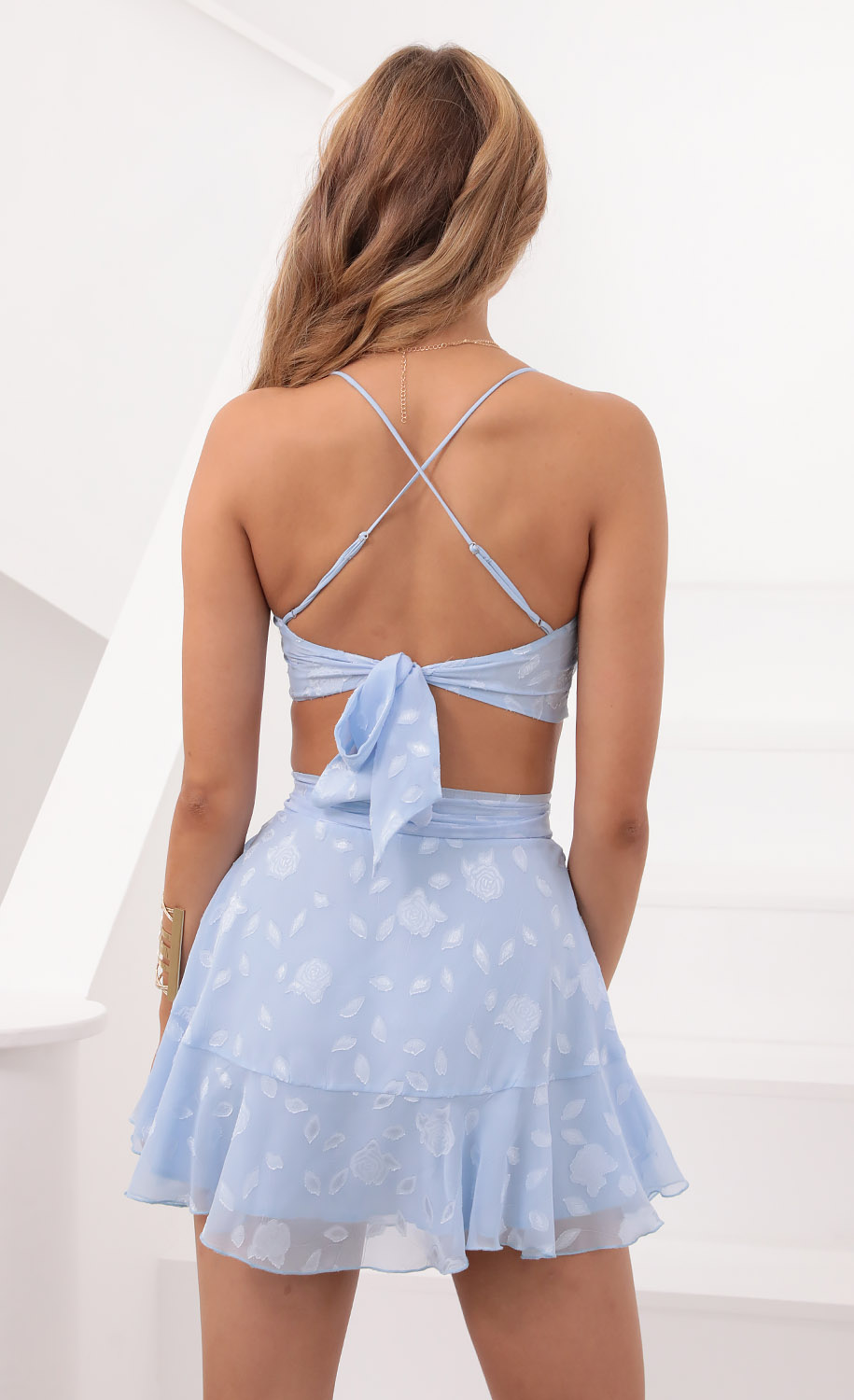 Skirts > Maria Wrap Set in Sky Blue Floral Chiffon