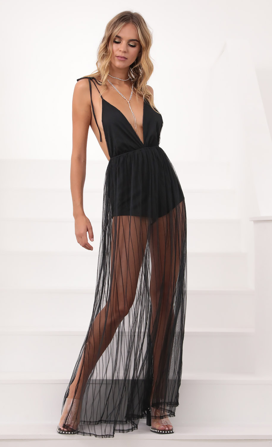 Skylar Love Ties Maxi Dress Black Mesh