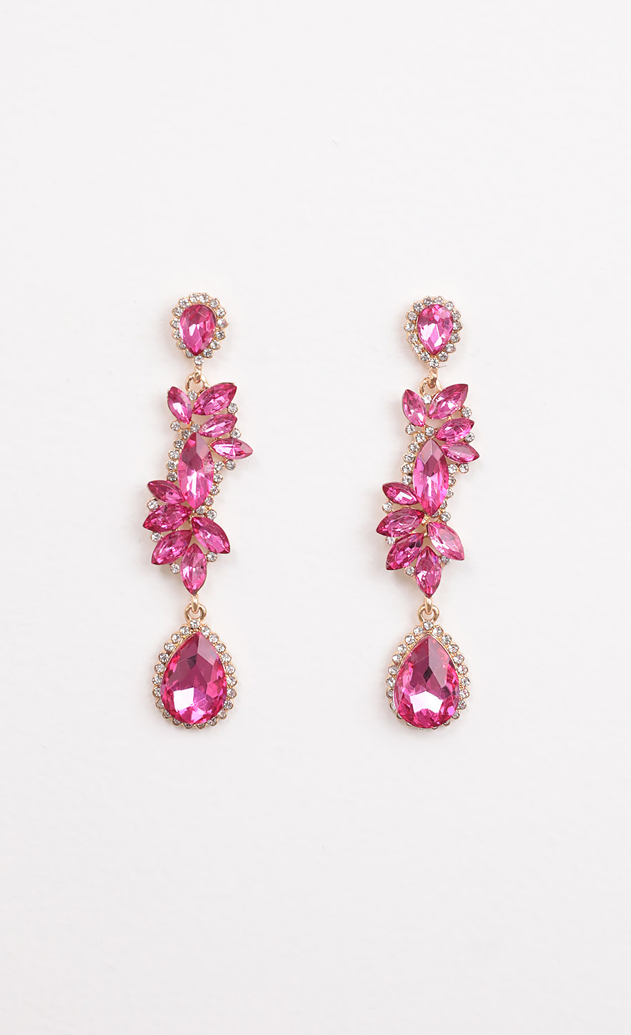 Pink and White Crystal Drop Earrings